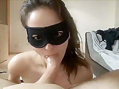 Chick With A Mask Is Sucking