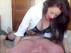 Busty Minx Sits On Her Man
