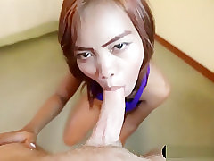 Real Asian Escort Gives A Bareback Blowjob